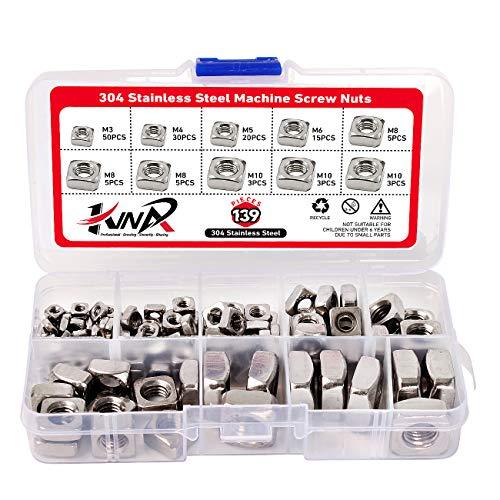 KINPAR 304 Stainless Steel Machine Screw Nuts 304 Square Nuts M3 M4 M5 M6 M8 M10 Metric Assortment Kit Nut 139Pcs