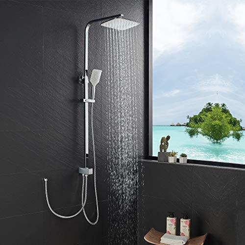 KAIBOR Edelstahl Duschsystem ohne Armatur, Duschset Eckige Kopfbrause 26x20 cm, 3 Strahlarten Handbrause, Regendusche Höhenverstellbar, kann an Duschthermostat und Brausearmatur angeschlossen werden