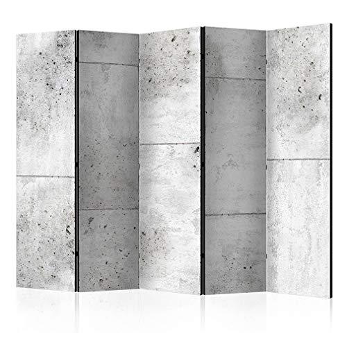decomonkey Paravent Raumteiler XXL Einseitig Beton 225x172 cm 5 TLG. Trennwand Vlies Leinwand Raumtrenner Sichtschutz spanische Wand Blickdicht Textile Haptik Mauer Grau