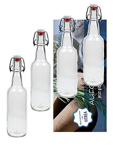 Set van 4 beugelflessen beugelflessen glazen flessen 500 ml met beugelsluiting om zelf te vullen, inclusief Vitrea