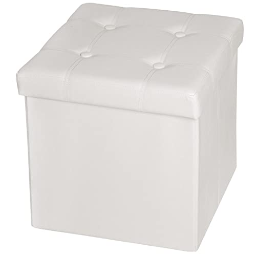 TecTake 38x38x38 cm Tabouret pouf cube dé pliable coffre cube siège boîte de rangement - diverses couleurs au choix - (Blanc (No. 401473))