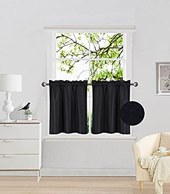 Fancy Collection 2 Panel Black Bedroom Curtains Blackout Draperies Thermal Insulated Solid Rod Pocket Top Drapes for Kid's Room, Bathroom, Kitchen Privacy Window Dressing New from FANCY LINEN LLC