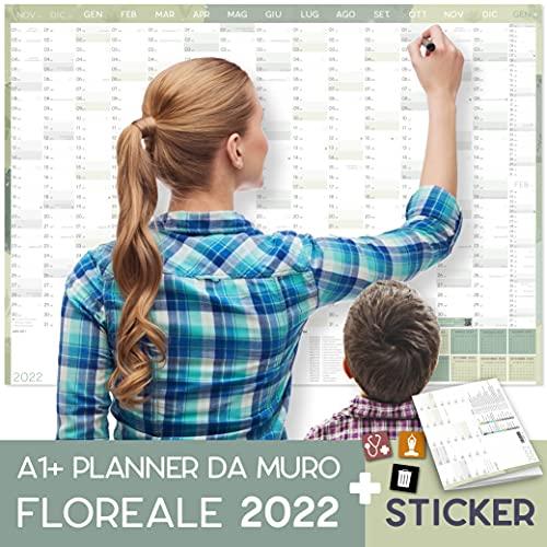 Calendario da parete 2022 DIN A1+ (89x63 cm) FLOREALE   PIEGATO   230 adesivi:...