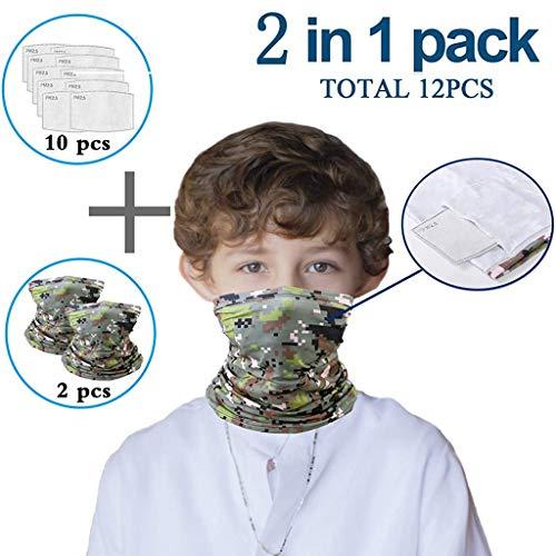 Lomelomme 2 Stück Multifunktionstuch mit 10 Stück Aktivkohlefilter Kinder Kopftuch Sport-Halstuch Bandana Mundschutz Schlauchtuch Halstücher für Jungen und Mädchen (C)