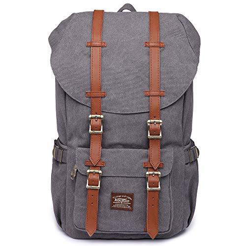 KAUKKO Unisex Canvas Rucksack im Vintage-Look mit Leder-Riemen als Schulrucksack, zum Wandern, Einkaufen, Reisen, Camping und für die Verwendung im Alltag,1grey,L