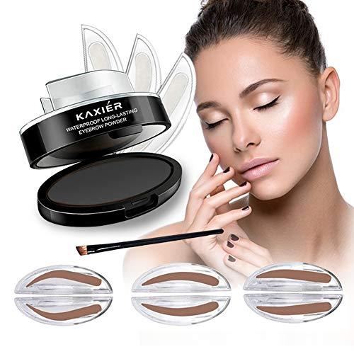 GL-Turelifes Waterproof Eye Brow Stamp Powder Perfect Eyebrow Power Seal Nature Eye Brow Powder Delicate Shape (Black Gray)