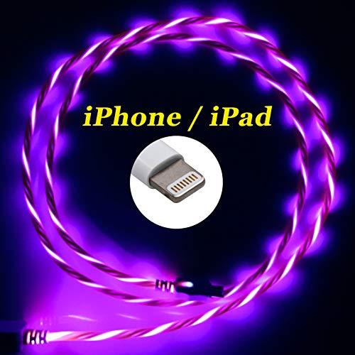 LifeShift Ladekabel Datenkabel 1m Leuchtend fließende LED Optik kompatibel mit iPhone, iPad, iPod (rot-rosé)