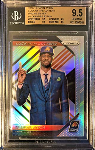 """Professionally Graded 2018-19 Panini Prizm DeANDRE AYTON Rookie Basketball Card - SILVER Prizm""""Luck of the Lottery"""" - BGS GEM MINT 9.5! Phoenix Suns"""