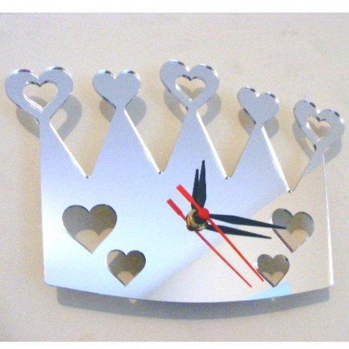 Super Cool Creations 35 X 20 cm Acrylique Coeur de Couronnes Miroir Horloge, Argent