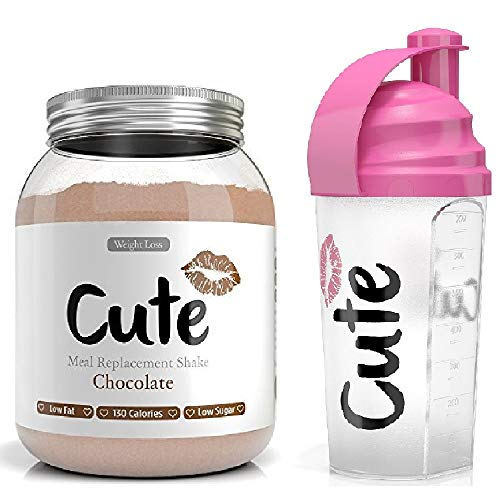 Cute Nutrition Meal Replacement Shakes for Weight Loss Control & Energy - Chocolate with Shaker