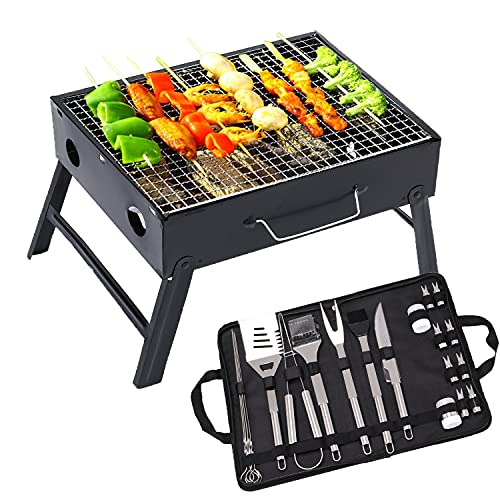 Charcoal Barbecue Grill and BBQ Tools 20pcs Set, Foldable Outdoor BBQ Smoker Grill Stainless Steel Professional Utensil Barbecue Accessories for Camping Picnic Outdoor Garden Party Activities