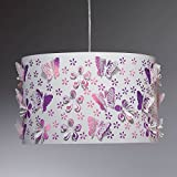 ONLI - Lampe à suspension en métal blanc avec décoration en fleurs et papillons coupé au laser. Chambre petites filles