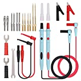 CAMWAY 23Pcs Multimeter Test Leads Kit,Professional Alligator Clips Banana Plug Probes Back Probe Pins Electronic Test Leads Set with Multimeter Probes, Alligator Clips,Test Hooks, Back Probe Pins