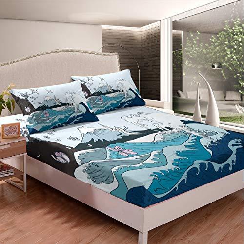 Japanese Hokusai Pattern Bedding Set Japanese-Style Bed Sheet Set for Kids Teens Adults Wave Pattern Fitted Sheet Breathable Fuji Mountain Printed Bed Cover Room Decor Full Size