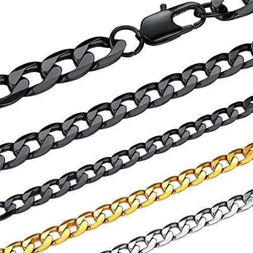 Bandmax 喜平 ネックレス チェーン メンズ ブラック 黒色 6mm 65cm 細め 金属アレルギー対応 シンプル カジュアル かっこいい ファッション アクセサリー 男性
