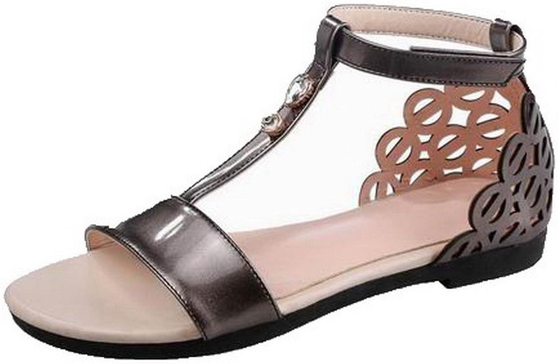 WeenFashion Women's Hook-and-Loop Open-Toe Low-Heels Solid Sandals, CA18LA05068
