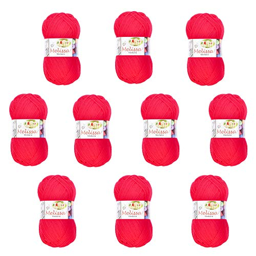 Melissa Hilo Acrílico Ovillo de Lana (200m 100g *10)Premium para DIY Tejer y Ganchillo,Certificado OEKO-TEX Standard 100,agujas talla 4(1/2)-5,Rojo 8,Mediana,Enviado desde Europa