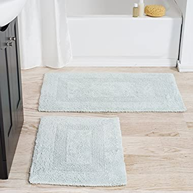 Lavish Home Cotton Bath Mat Set- 2 Piece 100 Percent Cotton Mats- Reversible, Soft, Absorbent and Machine Washable Bathroom Rugs By (Seafoam)