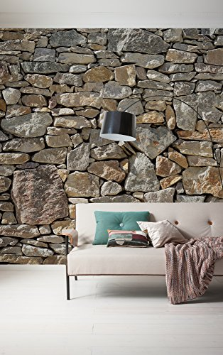 Komar 727-DV3 Vlies Fototapete Stone Wall Tapete, Wand Dekoration, Steinmauer, Steinwand, Steinoptik-727-DV3, bunt, 300 x 250 cm (Breite x Höhe)