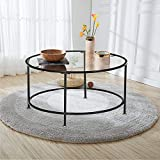 Goujxcy 36' Round Tempered Glass Coffee Table with Metal Frame,Accent Center Table for Living Room (Black)