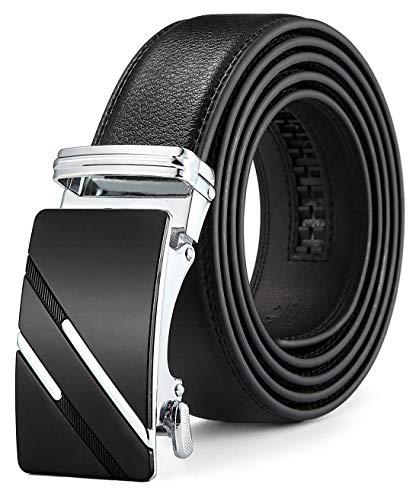 Ratchet Belt for Men, QISHI YUHUA Slide Men's Belt with Genuine Leather 1 3/8,Trim to Fit - Black,137-L