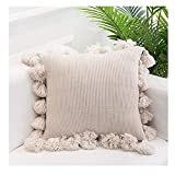 """Calonyction Knitted Pillow Covers with Pompoms Tassel Boho Knit Throw Pillow Cases Handwoven Decorative Pillow 18"""" x 18"""""""