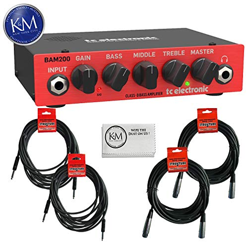 TC Electronic BAM200 200 Watt Bass Amplifier Head + (2) Instrument Cables + (2) XLR Cables + K&M Cloth Bundle
