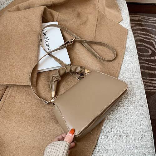Bolso de mano de lujo para mujer, de piel sintética, bolso de hombro y carteras (color: caqui, tamaño: 21 cm x 13 cm x 7 cm)