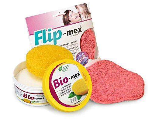 Bio-mex Kit Panno Flip-Mex. Detergente Solido Universale 300 gr. Naturale e biodegradabile (1 Spugna Inclusa). Flip-Mex Panno Spugna in Microfibra con Tecnologia Antibatterica Nano-Argento
