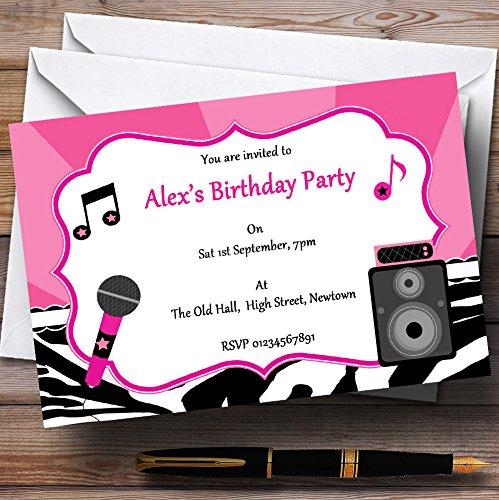 Kinderfeest nodigt Karaoke Pop Star Zwart en Roze Gepersonaliseerde verjaardagsfeestjes uit met Enveloppen - Elke aangepaste tekst voor elke gelegenheid 50 Cards & Envelopes Zwart/Roze