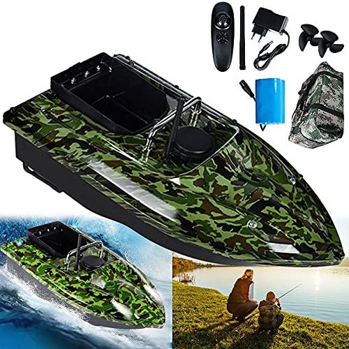 Barco de Cebo de Pesca Navegación GPS Barco Cebador con 1 Tolvas de Cebo y Luz de Noche LED para Piscina Lago