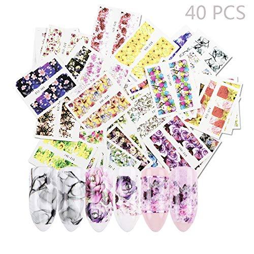 Jurxy 40 PCS Autocollant Nail Watermark Autocollants de transfert d'eau Applique Filigrane Salon de bricolage Utilisation Outils de décoration –Motifs de fleurs 2