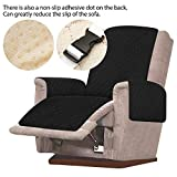 JTWEB Sesselschoner Sesselauflage Relax mit rutschfest, 1 Sitzer Sesselschutz Sofaüberwurf mit 2.5 cm Breiten verstellbaren Trägern (Schwarz) - 7