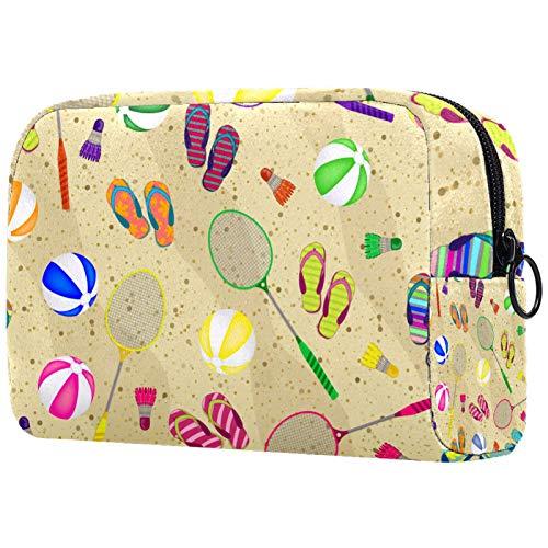 Make-up Bag Organizer Kleine Cosmetic Bags for Women Travel Kulturbeutel Makeup Case Geldbörse Handtasche Badminton Schläger Bälle Strand Hausschuhe und Federbälle