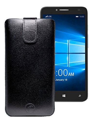 Original Favory Etui Tasche für / Alcatel One Touch Pop 4S / Leder Etui Handytasche Ledertasche Schutzhülle Hülle Hülle Lasche mit Rückzugfunktion* in schwarz