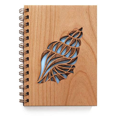Conch Shell Wood Journal [Notebook, Sketchbook, Spiral Bound, Blank Pages, Gifts for Her, Fathers Day]