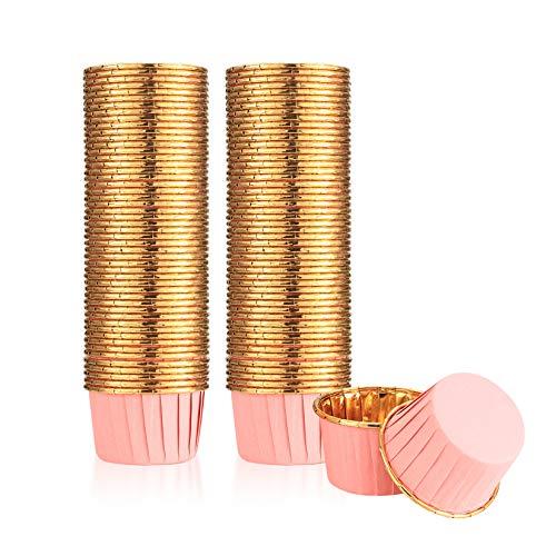 100 Stück Muffinförmchen Papier, Cupcake Formen Papier, Folien Metallic Muffin Wrappers, Backetuis Muffins Papierförmchen für Cupcakes, Geburtstag, Hochzeit, Weihnachtsfeier - Rosa