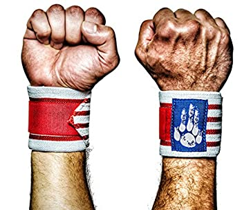MANIMAL Wrist Wraps - Superior Wrist Support for Weightlifting Stabilization and Style - Lifting Straps and Guards for Men & Women - Crossfit Powerlifting Bench Press Gym  Red/White/Blue