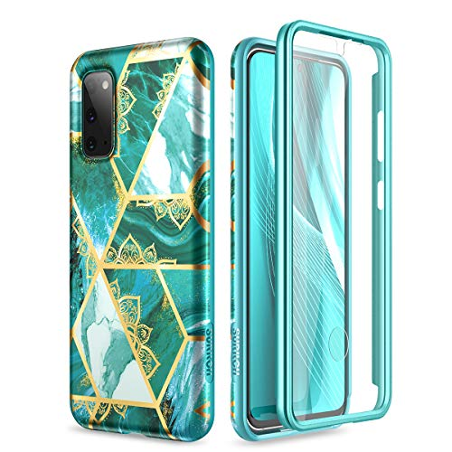SURITCH for Samsung Galaxy S20 Case, [Built-in Screen Protector] S20 5G Cover Marble Full-Body Protection Shockproof Rugged TPU Bumper Protective Case for Galaxy S20 5G 6.2 Inch (Green Mandala)