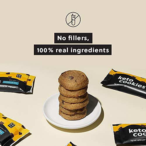 Perfect Keto Cookies - Low Net Carb Snacks & Sweets, No Added Sugar and Gluten-Free Cookies – Keto Food for Healthy and Keto-Friendly Diet - 12 Pack (24 Count), Chocolate Chip