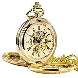 Treeweto - Orologio da taschino meccanico dorato in stile antico, con ingranaggi a vista e quadrante...