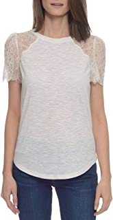 Rebecca Taylor Women's Short Lace Sleeve Jersey Tee, Cream, Large