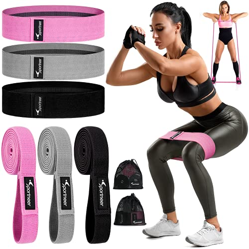 Sportneer Resistance Bands Set, 6 Packs Short and Long Fabric Workout Bands with 3 Resistance Levels, Non-Slip Exercise Bands Elastic Resistance Loops Bands for Full Body, Legs, Butt, Hips and Glutes