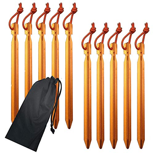 Parkland Gold Aluminium Tent Stakes Pegs Ultralight Heavy Duty for Camping, Beach, Outdoor and Sand