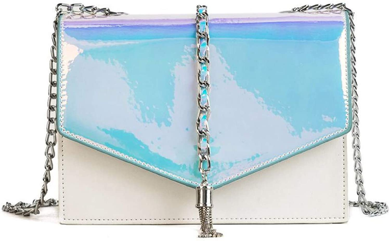 LHKFNU Laser Mirror Design Metal Tassels Ladies Shoulder Bag Tote Crossbody Mini Messenger Bag Female Purse for Women Bag