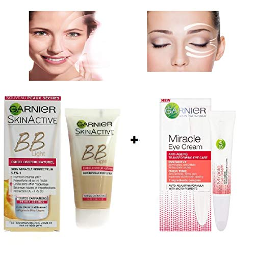 Kit SkinActive - BB Crème 5 en 1 Spécial Light Embellisseur Peaux Sèches Naturel 50 ml + Crème Contour Yeux Miracle 15 ml (Lot de 2 produits)