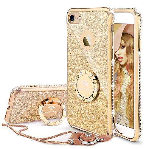 OCYCLONE iPhone 8 Hülle, iPhone 7 Handyhülle für Frauen Mädchen, Glitzer Diamant Strass Bumper mit Ring Kickstand Schutzhülle für iPhone 8 / iPhone 7 - Gold