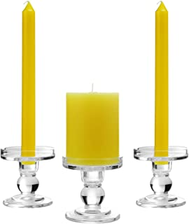 OYATON Glass Candle Holders for 3 inches Pillar Candle or 7/8 inch Taper Candle, Candlestick Holder Set of 3 for Wedding or Home Decoration(Exclude Candles)