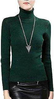 Fengtre Women's Turtleneck Cashmere Elastic Long Sleeve Slim-fit Pullover Knit Sweater Dark Green