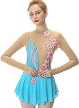 Light Blue Figure Skating Dress,Long-Sleeved Ice Skating Skirt,Fingerpoint Sleeves Spandex Competition Dresses Mesh Skirt